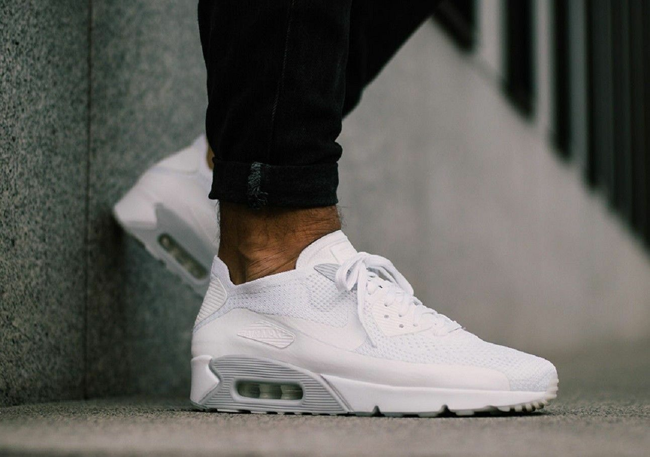 Nike Air Max 90 Ultra 2.0 Flyknit 875943 101 White & Platinum Men's Size 12.5