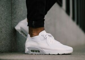 Nike Air Max 90 Ultra 2.0 Flyknit 875943 101 Men's Size 11 Running Shoes White