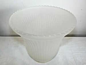 Vintage Ceiling Fan Lamp Shade Globe Frosted Glass Ribbed sides