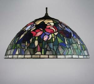 Flowered tiffany style stained glass lamp shade handcrafted cone image is loading flowered tiffany style stained glass lamp shade handcrafted aloadofball Choice Image