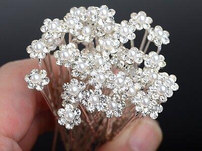 Wholesale 20/40Pc Wedding Bridal Pearl Flower Crystal Hair Pins Clips Bridesmaid