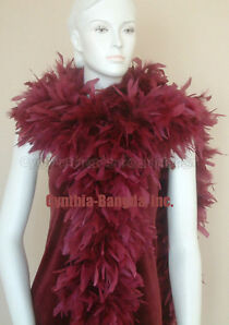 "180g 80"" Burgandy Chandelle Feather Boa Solid Color Cynthia's Feathers"