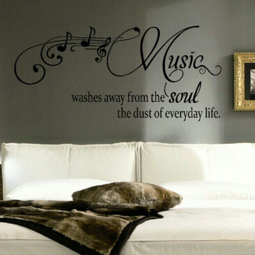 LARGE QUOTE MUSIC WASHES SOUL EVERYDAY LIFE WALL STICKER TRANSFER STENCIL DECAL