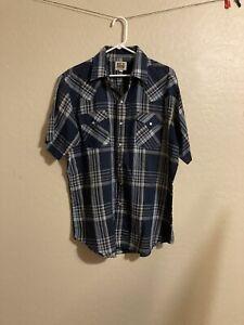 Ely Cattleman Men's L Plaid Pearl Snap Button Shirt Western Cowboy Short Sleeve