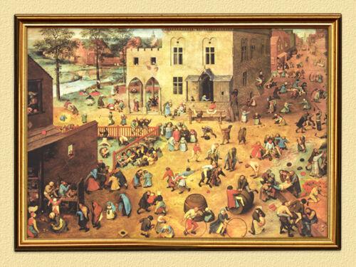 Kinderspiele im Mittelalter Faksimile Goldrahmen Pieter Bruegel der Ältere 15