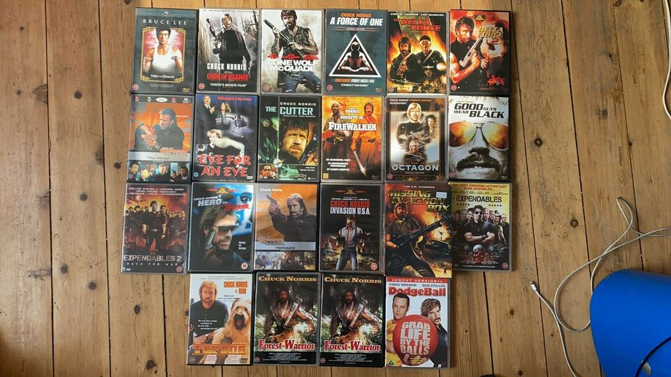 Stor Chuck Norris DVD samling sælges, instruktør Aaron