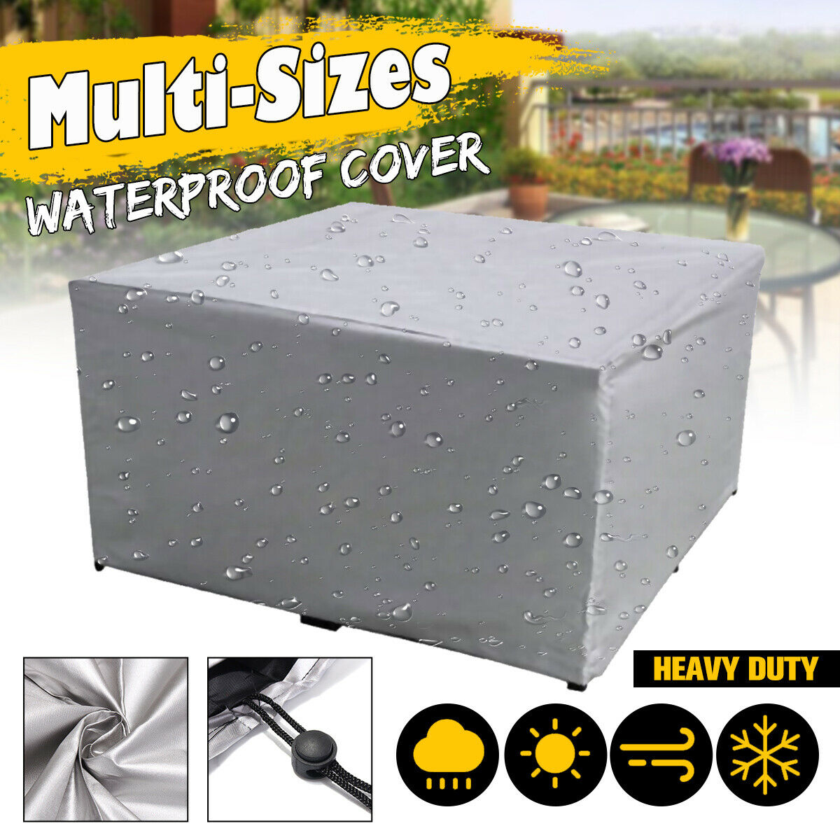 """72/"""" Outdoor Garden Patio Waterproof Oval//Rect Table Cover Furniture Protection"""