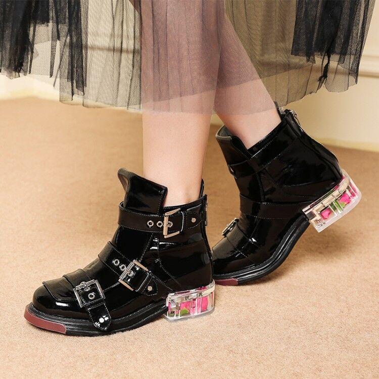 Para Mujer Correa Hebilla Punta rojoonda botas al Tobillo Zapatos Tacón Bloque Floral de tamaño completo