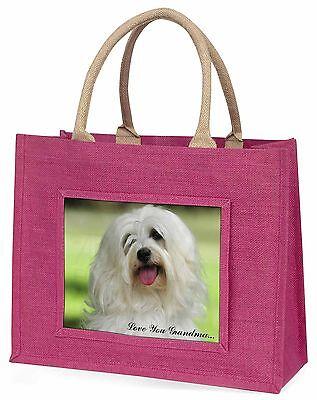Havaneser Hund 'Liebe dich Oma' Große Rosa Einkaufstasche Weihnachten,