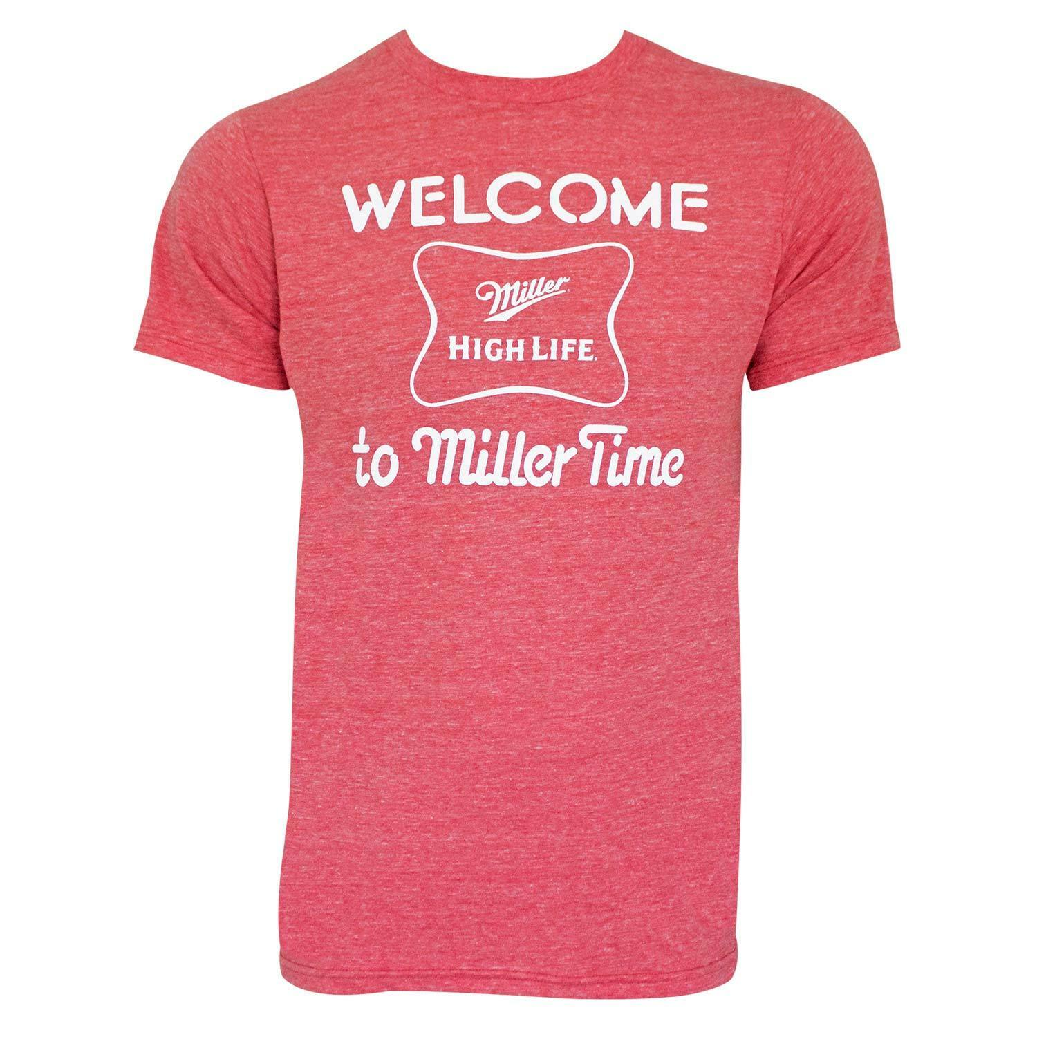 Miller High Life Retro Brand Welcome To Miller Time Tee Shirt Red