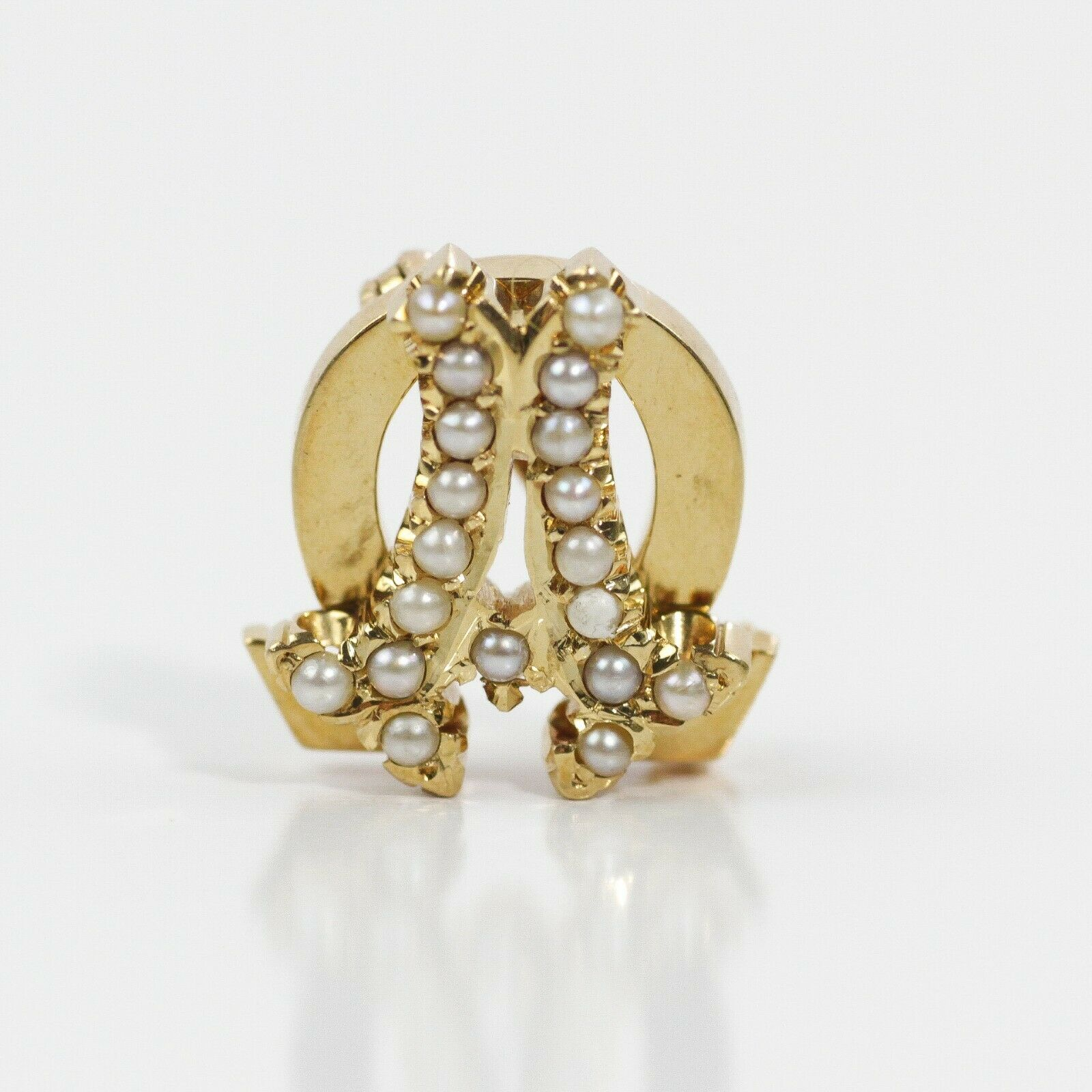5cf021c247fe ADORABLE 14k YELLOW gold HORSESHOE BROOCH INITIAL A DECORATED WITH PEARLS  nvblmt6857-Pins