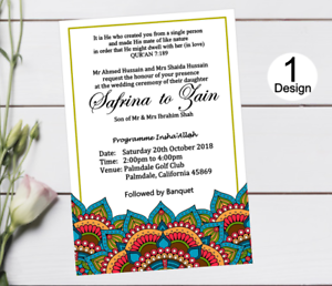 Mehndi Muslim Wedding Invitations Mandala Personalised Pack Of 10 Ebay