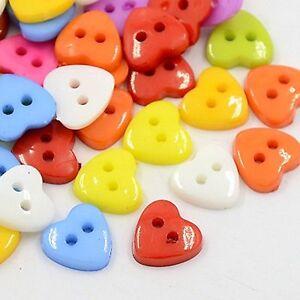 lot 50 bouton coeur 12mm multicolor melange 2 trou couture mercerie scrapbooking