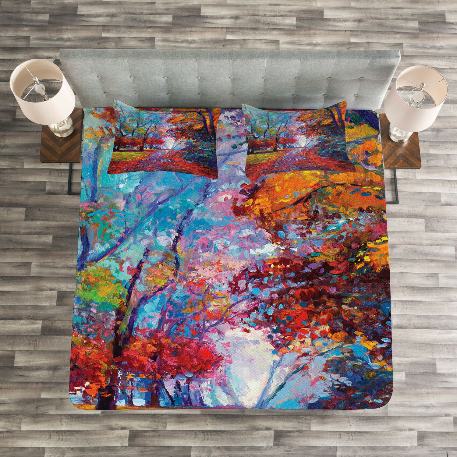colorful Quilted Bedspread & Pillow Shams Set, Trees Park Fall Autumn Print
