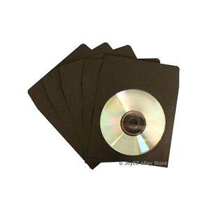 100-Black-CD-DVD-Paper-Sleeve-w-Clear-Window-amp-Flap