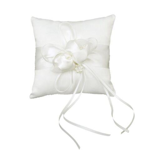 Schoen Elfenbeinknospe Blume Hochzeit Ring Kissen 6 Zoll x 6 Zoll O7X2