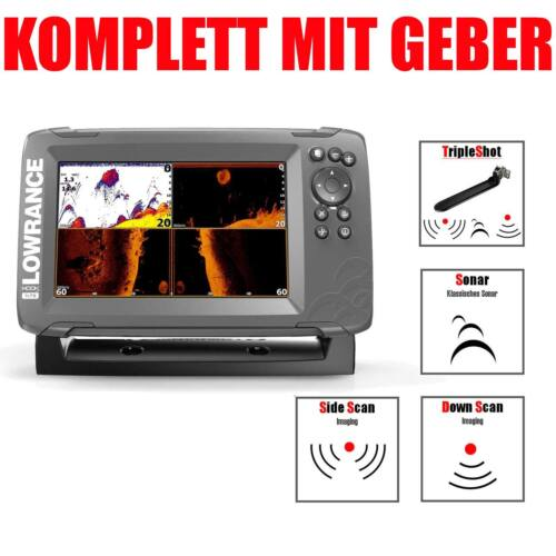 Lowrance GPS Echolot mit Geber Fischfinder Hook2 - 7x TripleShot CHIRP GPS