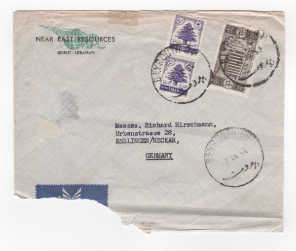 1954 Liban Air Mail Cover Beyrouth à Esslingen Allemagne Commercial Beyrouth
