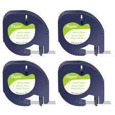 4 Pk For Dymo Letratag Refills Label Tape 91330 12mm Black On White Qx50 Printer