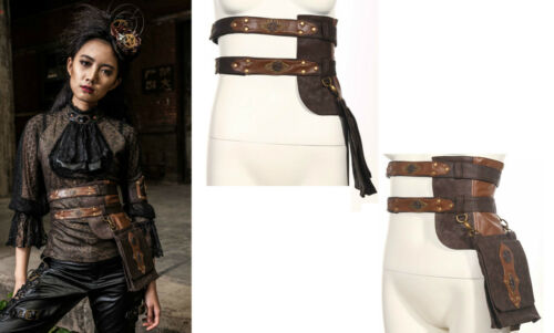 RQ-BL SET Kunst- Leder Hüft Gürtel Tasche Pirate Steampunk Belt Gothic LARP SP92