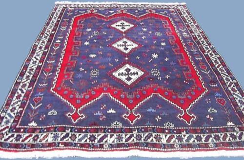 Orientteppich handgeknüpfter Perserteppich Nomaden Teppich blau 270x185 cm TOP