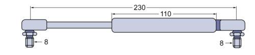 La presión del gas resorte puerta para Massey Ferguson MF 6120-6265 8110-8180 8210-8280 l230mm