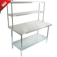 30 X 60 Stainless Steel Work Prep Table Commercial Overshelf Double Over Shelf