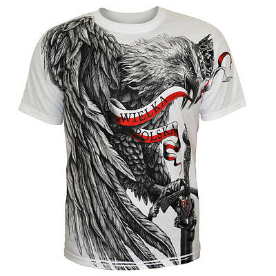 T-shirt Koszulka Eagle Flag Football Poland Polska Patriotic White Polish Polen