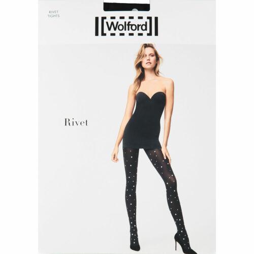 WOLFORD Women/'s Black /& Silver Rivet Tights size MEDIUM