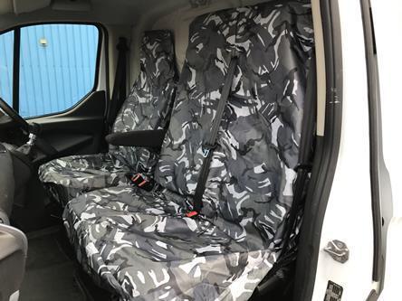 VW VOLKSWAGEN T5 VAN SEAT COVERS CAMOUFLAGE DPM CAMO GREY HEAVY DUTY 2-1