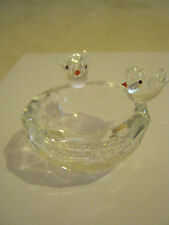 Small Glass Bowl with two Glass Birds Sitting On It's Rim (GS13-3)