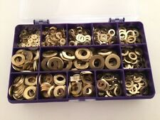 Brass Washers M3, M4, M5, M6, M8, M10, Brass Flat Washers Assorted Box 540 pcs