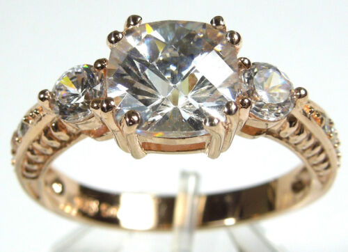 14kt Rose Gold Plated 925 Sterling Silver Cubic Zirconia Ring size 6,7,8,9