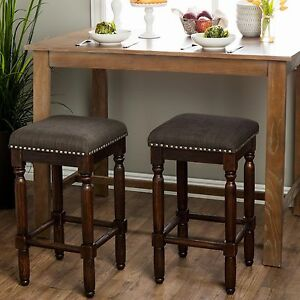 Surprising Details About Set Of 2 Counter Height Bar Stools Brown Wood Grey Padded Seat 26 In High Chair Machost Co Dining Chair Design Ideas Machostcouk