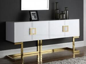 Image Is Loading Meridian Furniture Beth Modern White Lacquer Gold Steel