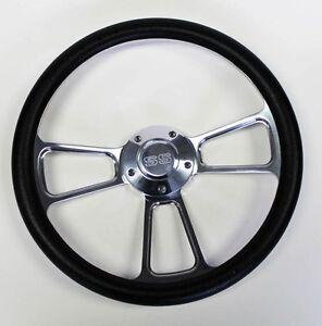 New-Nova-Chevelle-Steering-Wheel-Black-and-Billet-14-034-Very-Nice-SS-Center-Cap