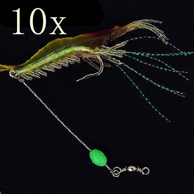 10pcs/lot Fishing Soft Shrimp Prawn Worm Bait Lure Saltwater Squid Night Glow