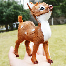 2 x Realistic Sitting Deer Home Desk Shelf Decor Figurine Toy Replica Bambi Fawn