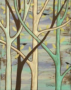 Forest-Birds-11-x-14-x-3-4-ORIGINAL-CANVAS-PAINTING-FOLK-ART-PRIM-Karla-Gerard