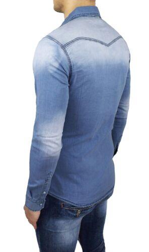 Camicia di jeans uomo Diamond casual cotone denim slim fit aderente S M L XL XXL