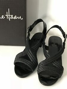 COLE-HAAN-Black-Braided-Leather-Low-Wedge-Sandals-Size-7B