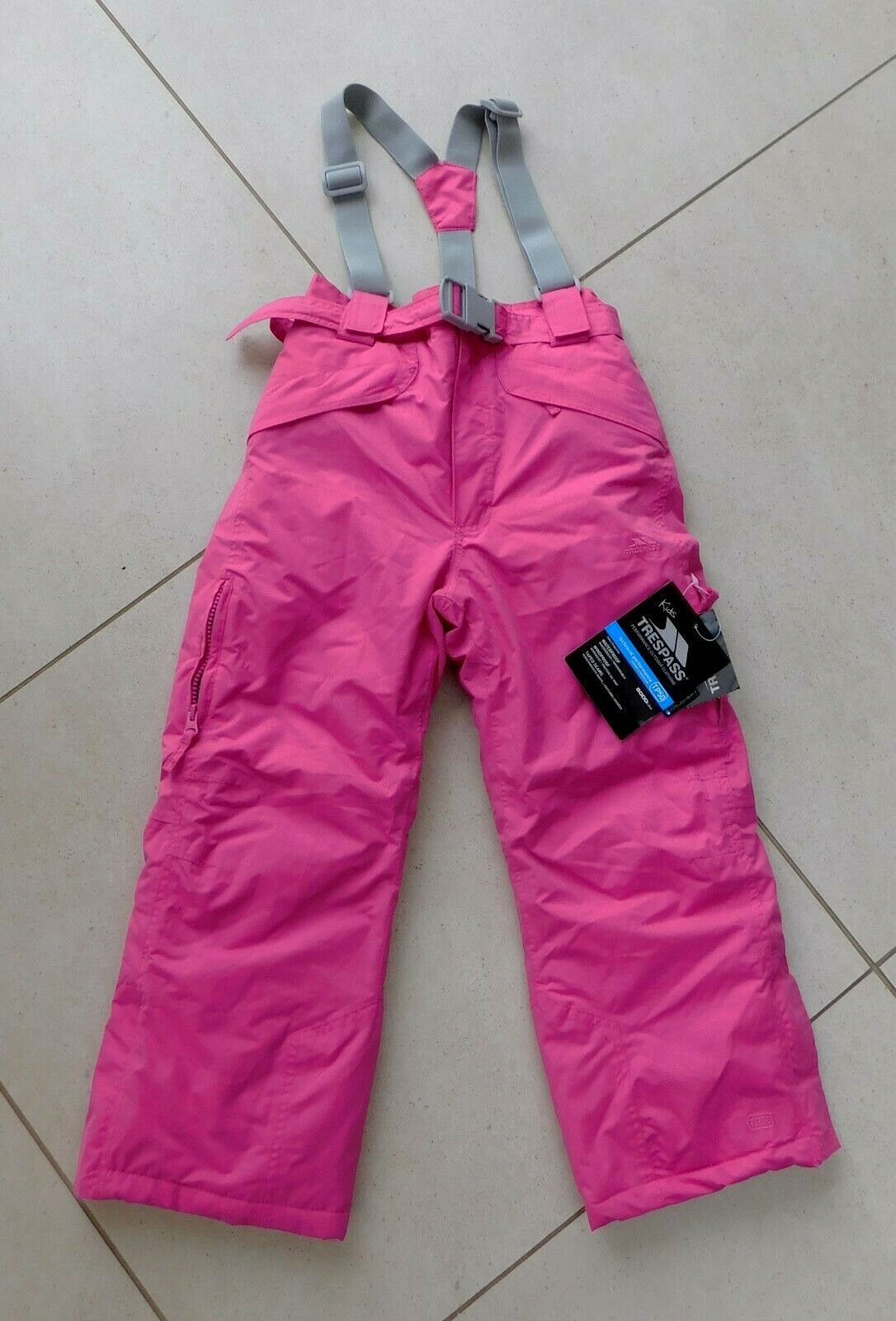 TRESSPASS Kids Girls 'MARVELOUS' Ski Salopettes Bubblegum Pink - age 5 6 BNWT