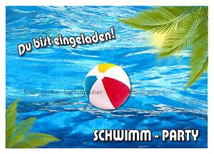 Das Bild Wird Geladen 8 Einladungskarten Schwimmen Geburtstag Teens  Schwimmbad Teenager Einladungen