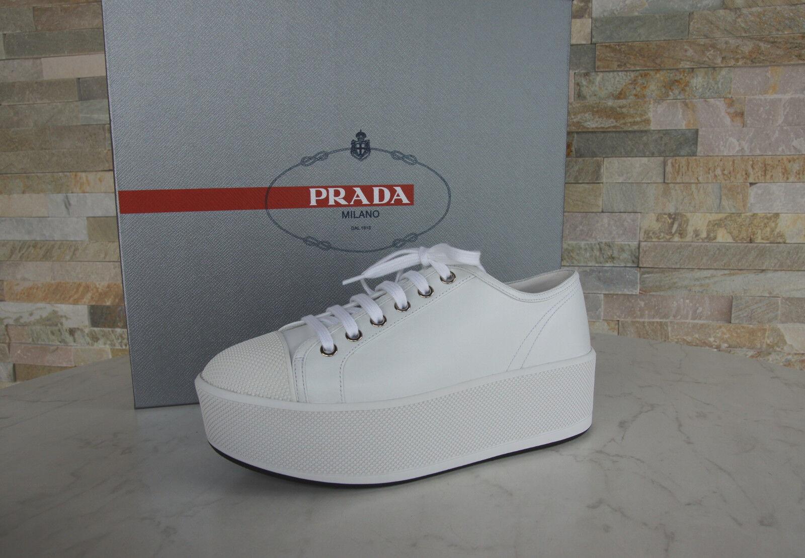 PRADA T 37,5 Plateforme Chaussure Lacée Baskets 3e6266 Chaussures Blanc Nouveau ehemuvp