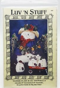 Country-Primitive-Christmas-29-inch-Snowman-Mama-Babies-Doll-Pattern-New