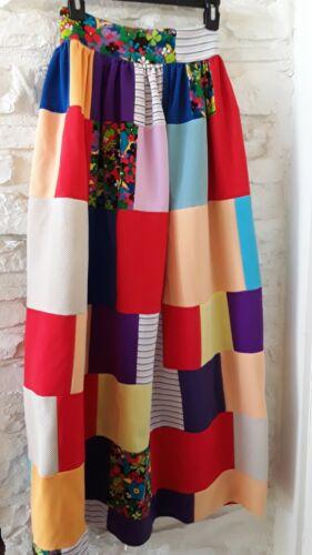 Vintage 70s Floral Patchwork Boho Maxi Skirt Rainb