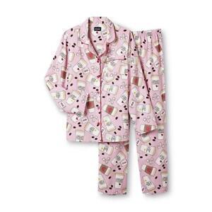 41dd768fc8b5 Details about Joe Boxer Women s 2-Pc Flannel Pajama Sleepwear Set Coffee