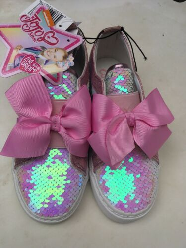 Details about  /JOJO SIWA NWT Pink Bow Sequins Sparkle Slip-On Tennis Shoes Sz 2