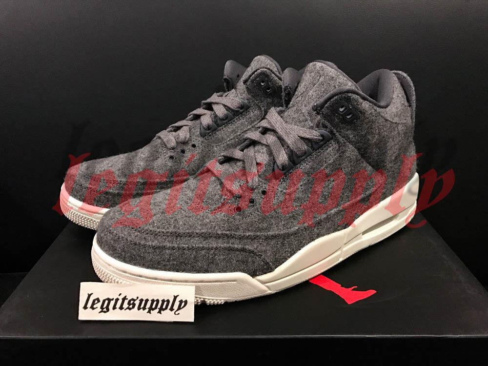 Nike Air Jordan 3 III Rétro Lana 4Y-13 grau Scuro Vela Bianco 854263-004 True