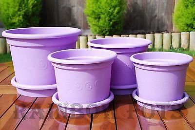 Colour Plastic Flower Plant Pots Planters + Saucer Tray 13,15,17,19,23,27 LILAC